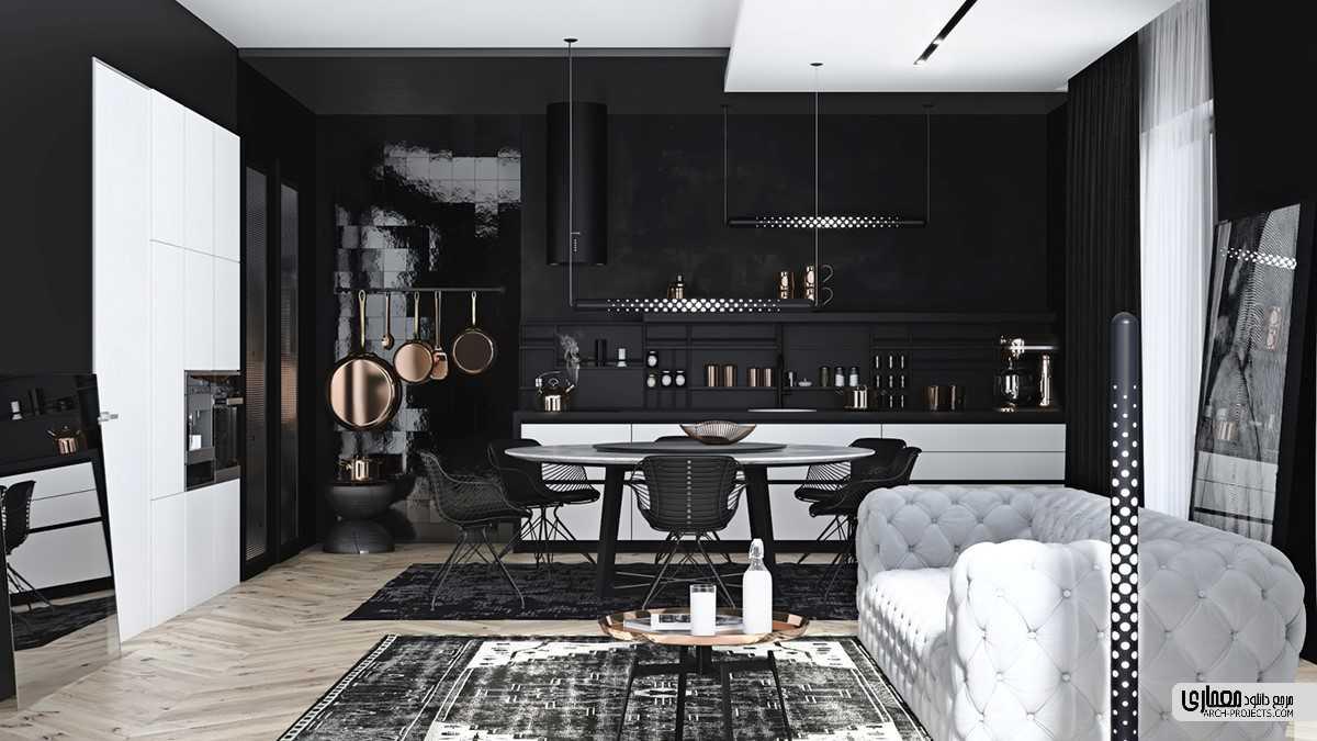 طراحی داخلی با تم خاکستری