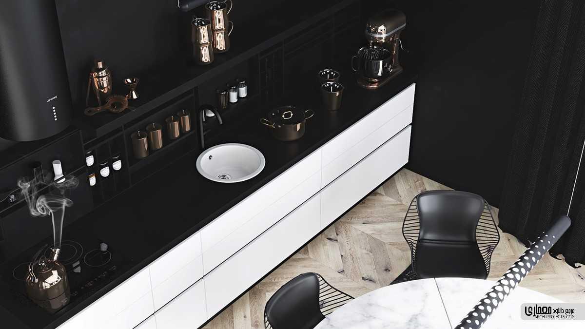 طراحی آشپزخانه با تم سیاه و سفید