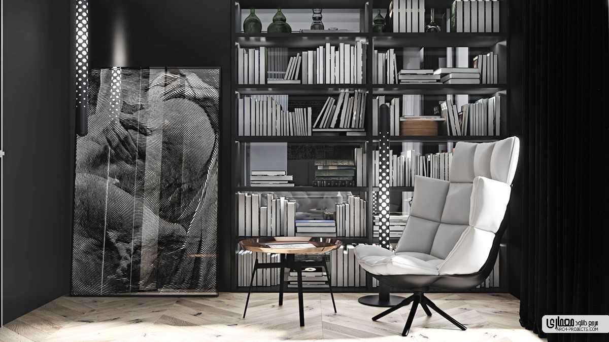 طراحی داخلی با تم سیاه و سفید