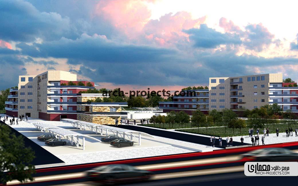 پلان مجتمع مسکونی با رویکرد معماری پایدار