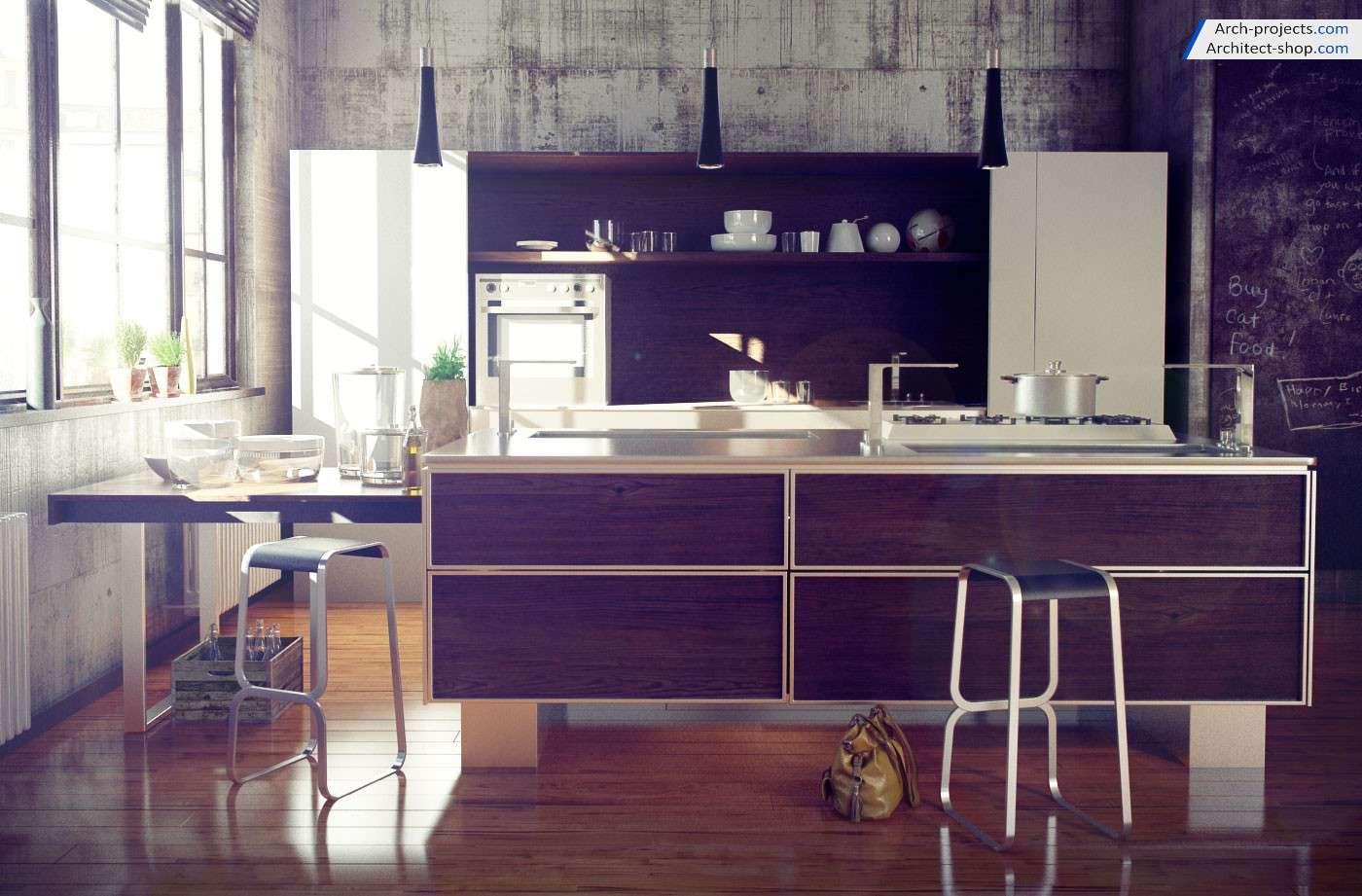 دانلود رایگان آبجکت آشپزخانه و کابینت - آرچ مدل 166