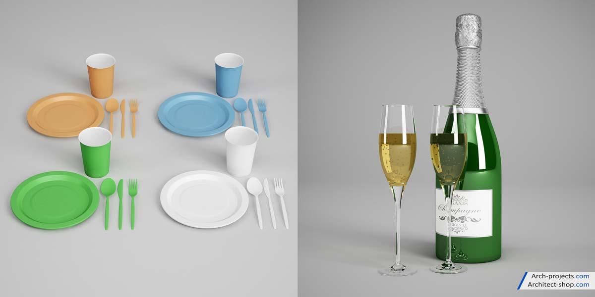 مدل سه بعدی ابزارهای جشن