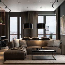 طراحی داخلی 3 نمونه آپارتمان مدرن با تم تیره