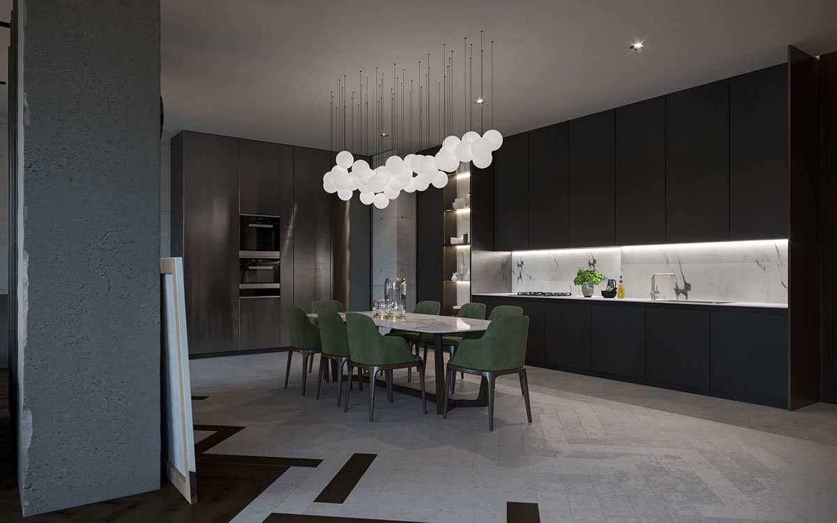 طراحی داخلی آپارتمان با تم تیره