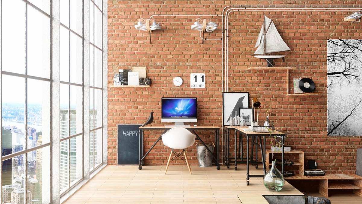 دفتر کار خانگی به سبک صنعتی
