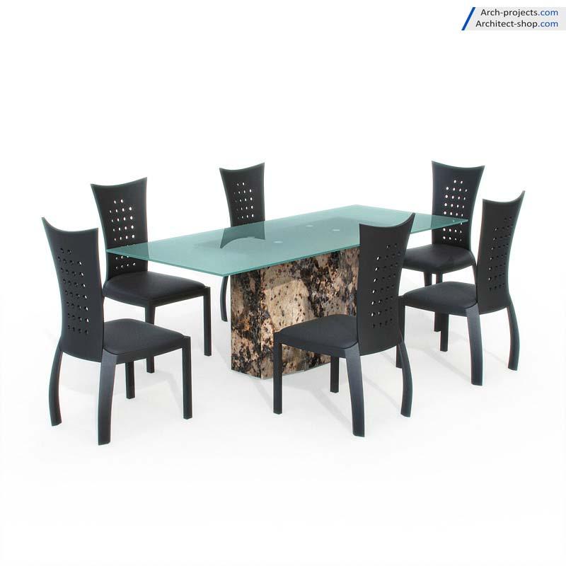 دانلود مدل سه بعدی میز نهارخوری مدرن