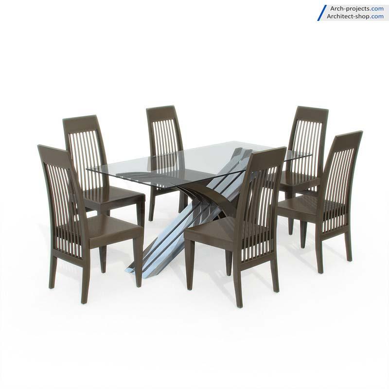 دانلود مدل سه بعدی میز نهارخوری