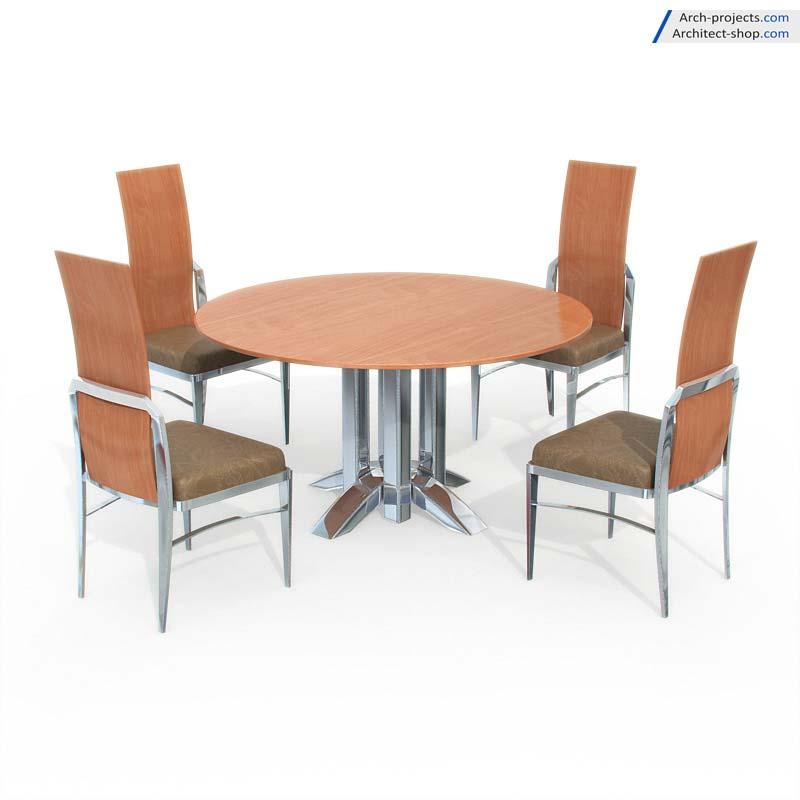 مدل سه بعدی میز نهارخوری