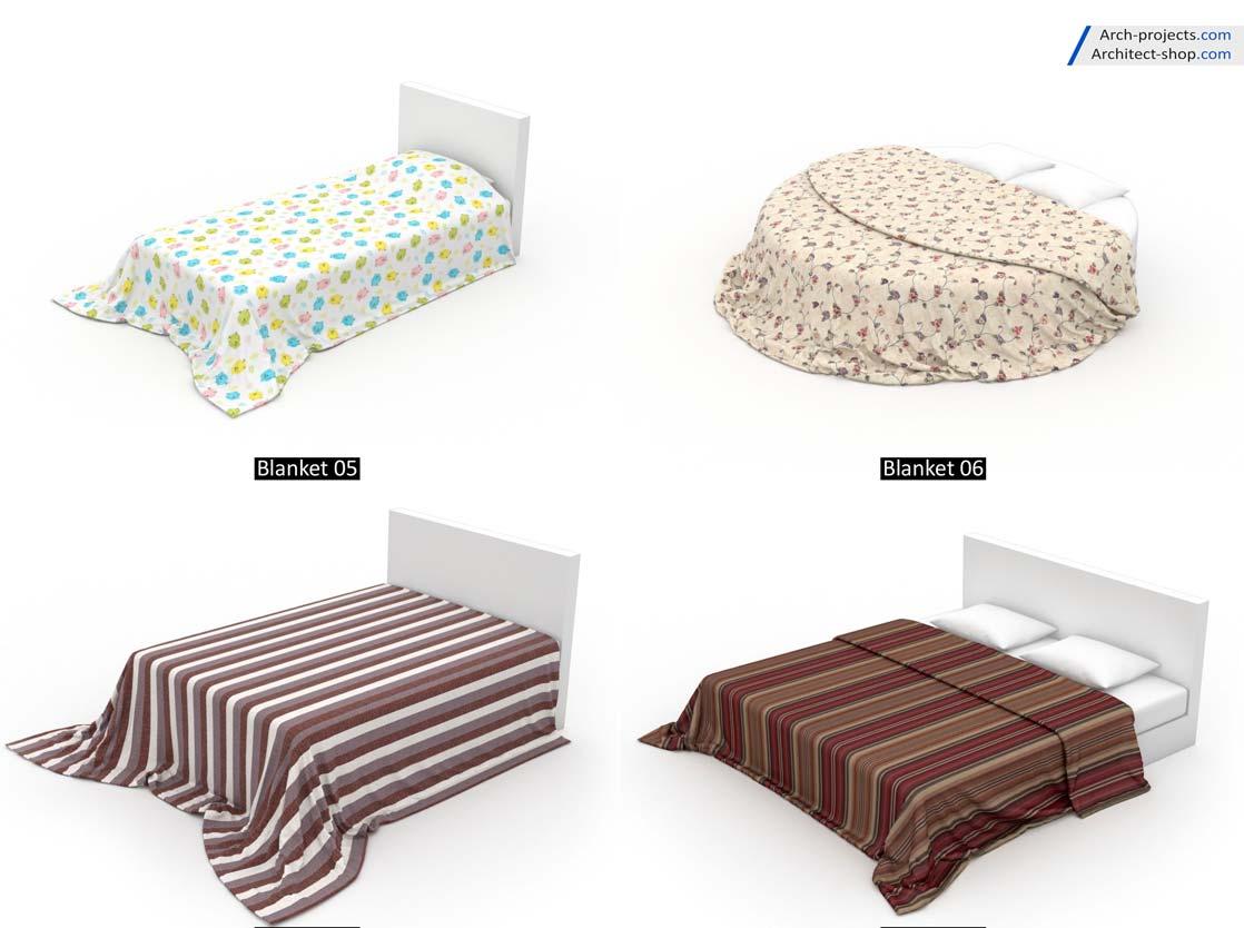مدل سه بعدی تخت خواب و بالشت