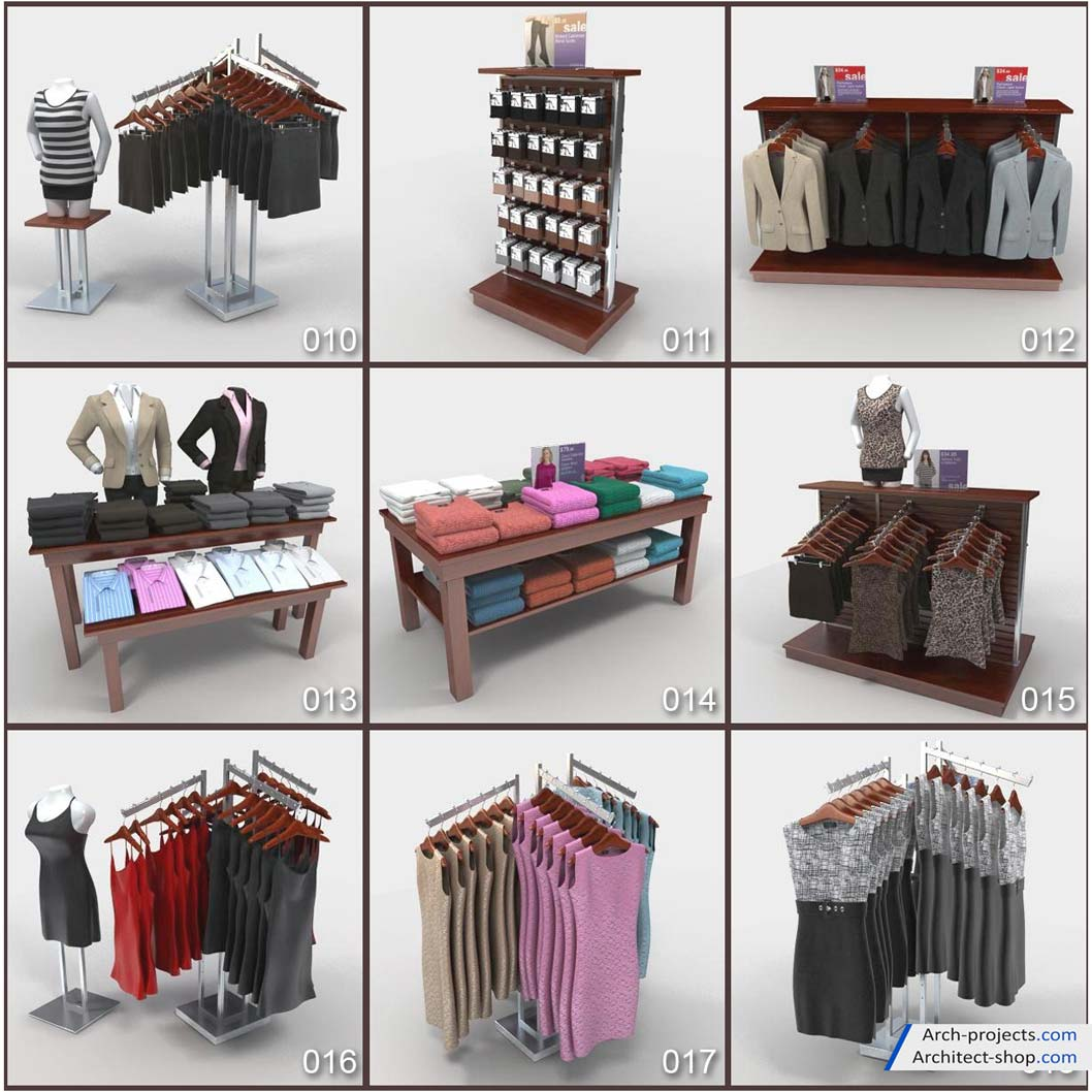 دانلود مدل سه بعدی لوازم فروشگاه لباس
