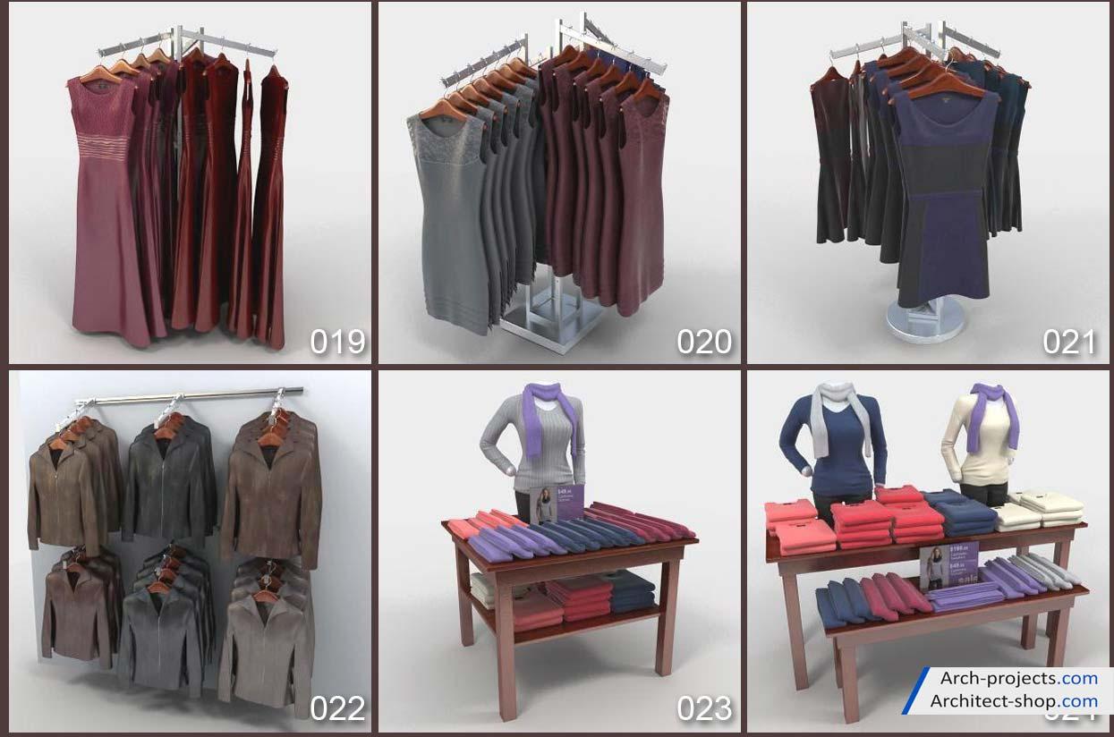 مدل سه بعدی لوازم فروشگاه لباس
