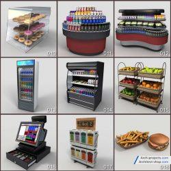 دانلود مدل سه بعدی لوازم فروشگاه مواد غذایی