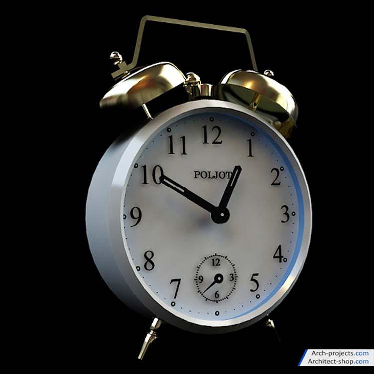 مدل سه بعدی بطری و ساعت