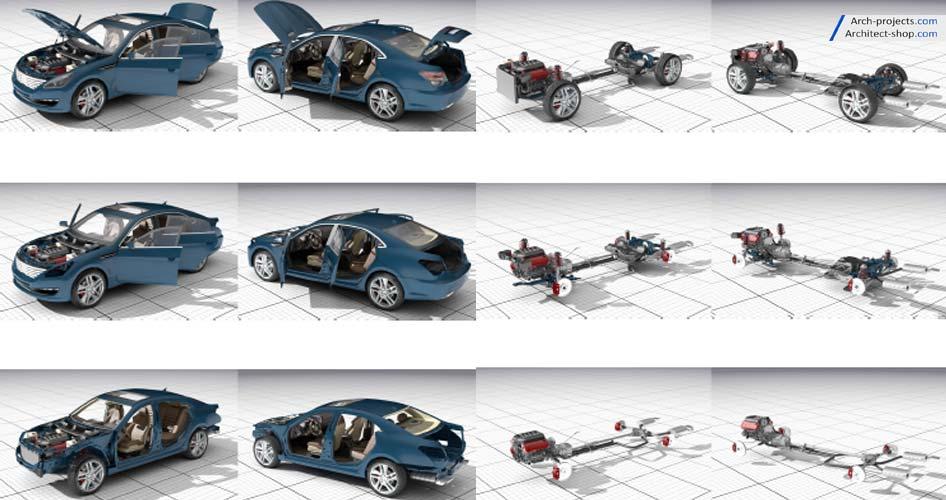 مدل سه بعدی جزئیات ماشین