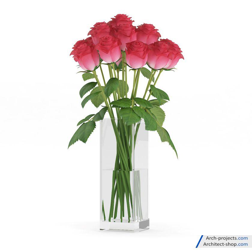 دانلود مدل سه بعدی گل و گلدان
