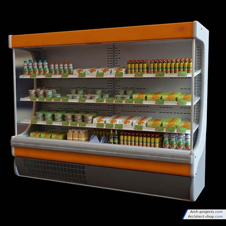 مدل سه بعدی یخچال فروشگاهی