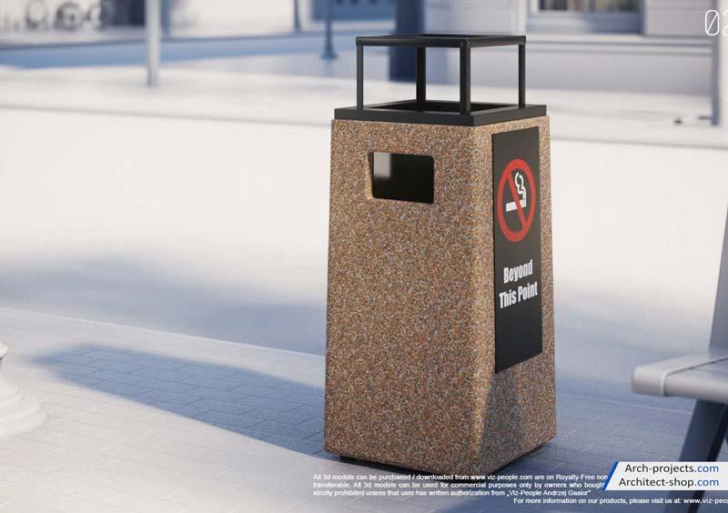 مدل سه بعدی سطل زباله