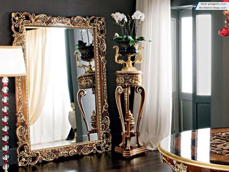 مدل سه بعدی آینه و شمعدان کلاسیک