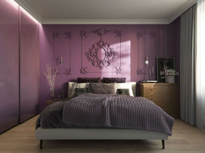 اتاق خواب با تم بنفش