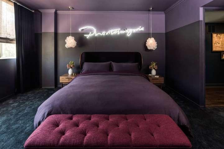 دکواسیون اتاق خواب بنفش