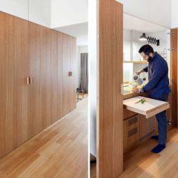 طراحی داخلی آپارتمان کوچک با آشپزخانه و خشکشویی پنهان