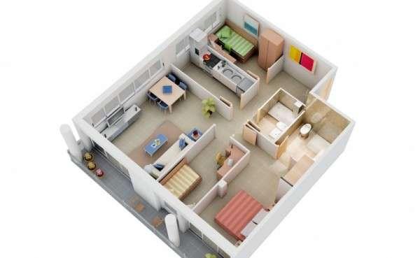 پلان سه بعدی آپارتمان سه خوابه