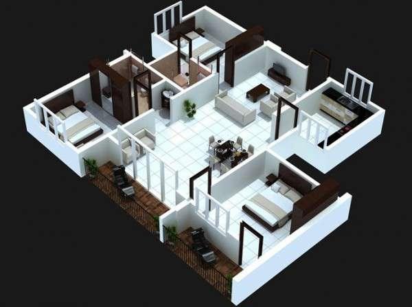 پلان سه بعدی خانه سه خوابه