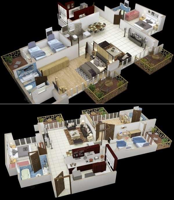 پلان خانه سه خوابه