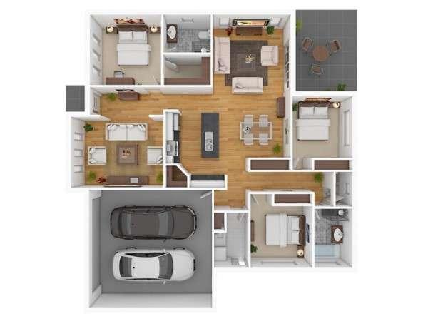 پلان سه بعدی آپارتمان