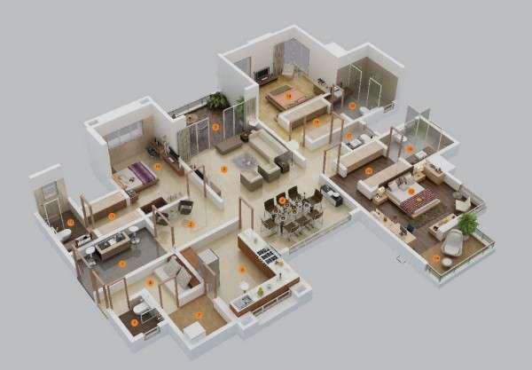 پلان آپارتمان سه خوابه