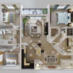 50 پلان آپارتمان سه خوابه