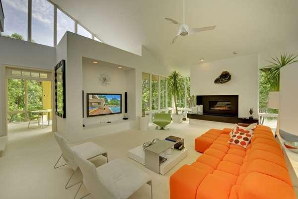طراحی نشیمن با رنگ نارنجی