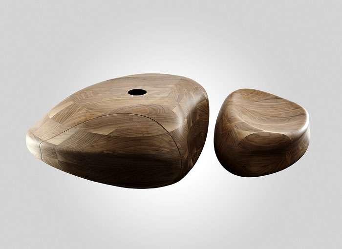 دکوراسیون حمام با چوب و سنگ