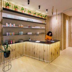 طراحی داخلی سالن اسپا با بامبو