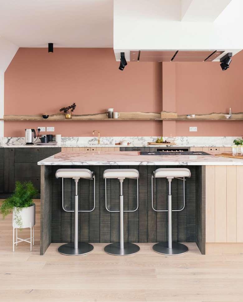 طراحی داخلی آشپزخانه صورتی