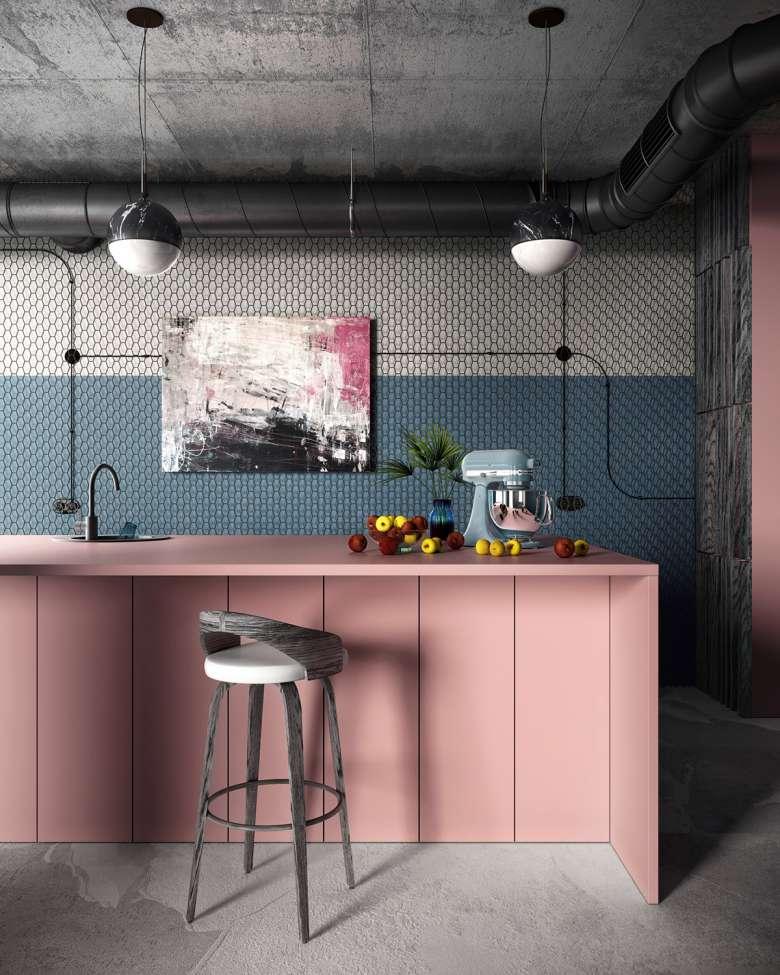 دکوراسیون آشپزخانه صورتی الهام بخش