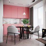 طراحی آشپزخانه با تم صورتی