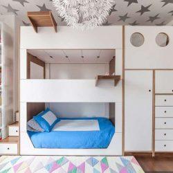 طراحی تخت خواب سه طبقه سفارشی با فضای دخیره سازی
