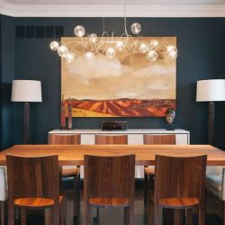 20 نمونه دکوراسیون اتاق غذا خوری معاصر با صندلی های چوبی