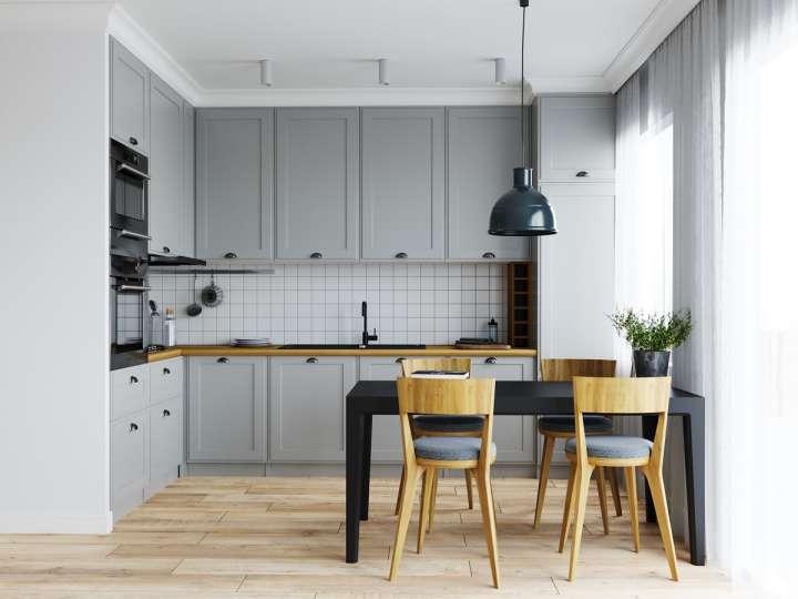 طراحی داخلی آشپزخانه L شکل