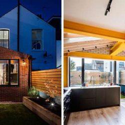 طراحی داخلی خانه با استفاده از تیر فولادی زرد رنگ