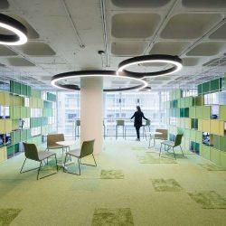 طراحی داخلی شرکت با استفاده از چوب