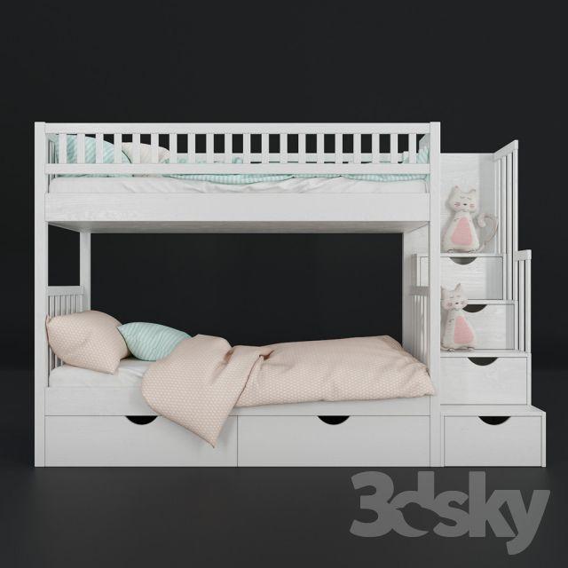 مدل سه بعدی تختخواب کودک