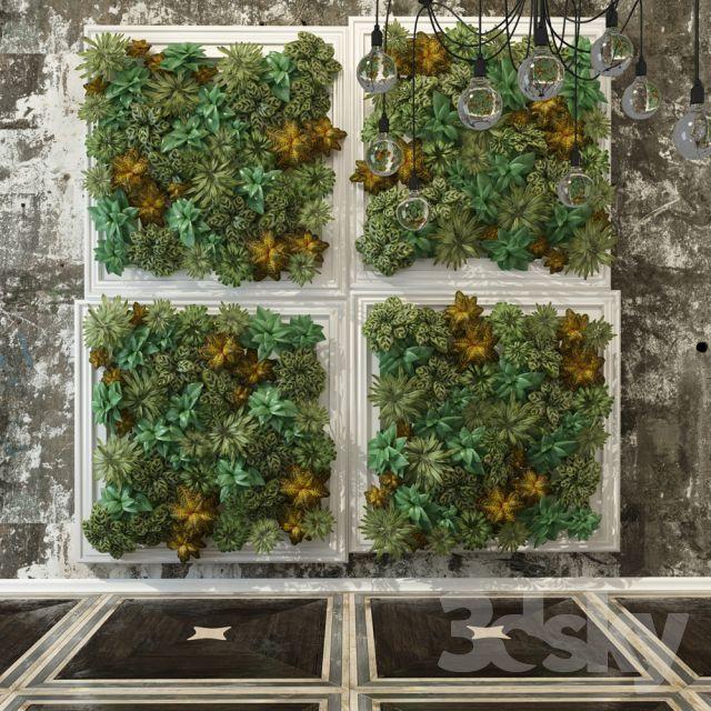 مدل سه بعدی گلدان و گل آپارتمانی