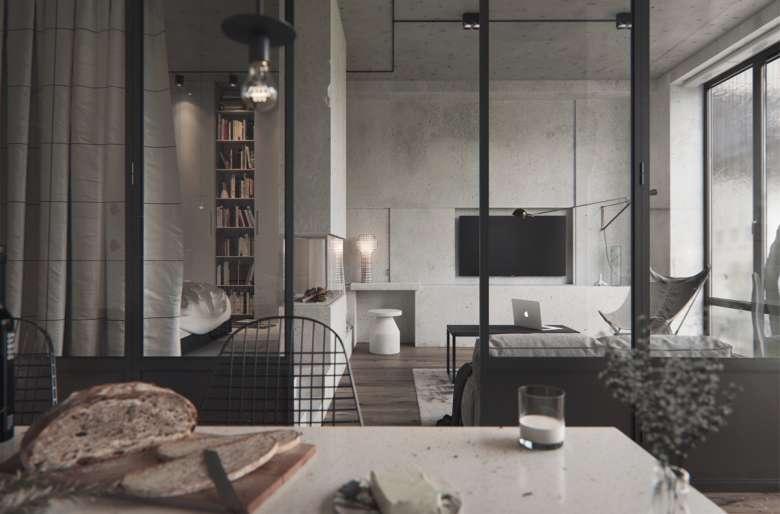 طراحی داخلی اتاق نشیمن با بتن