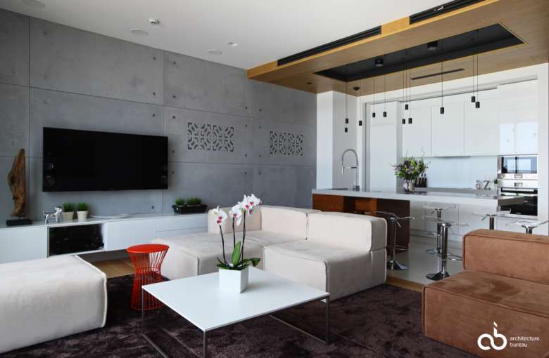 طراحی داخلی نشیمن با بتن