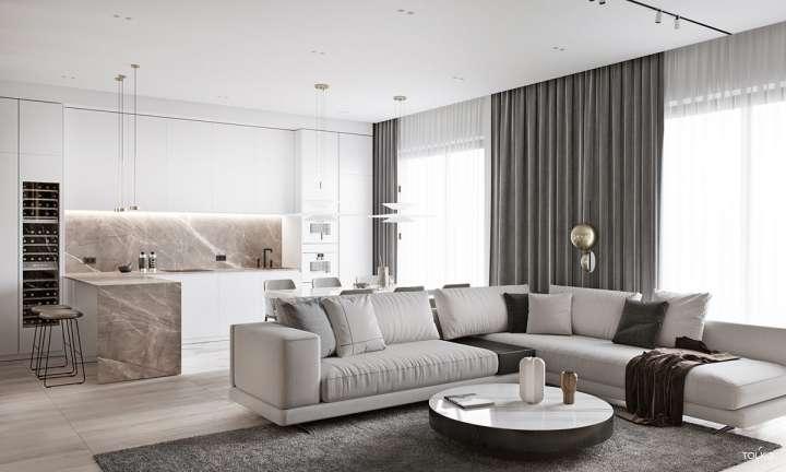 طراحی آپارتمان لوکس با پالت رنگ خنثی