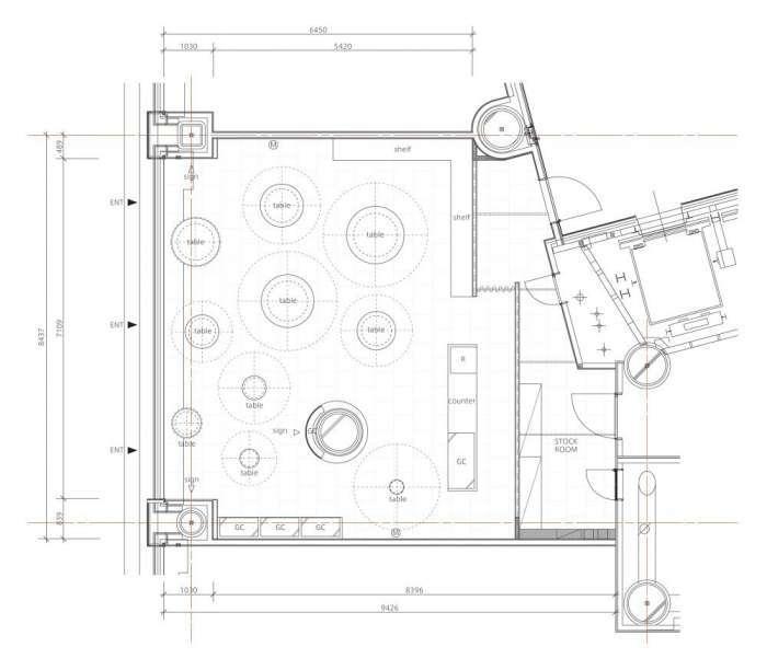 پلان فروشگاه تجاری با مساحت کمتر از 100 متر مربع