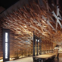 طراحی داخلی کافی شاپ با سازه چوبی