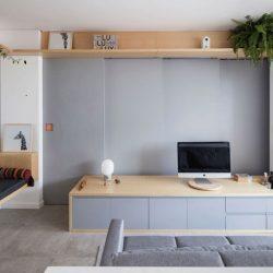 طراحی آپارتمان 32 متری با اتاق خوابی پنهان پشت دیوار کشویی